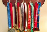 Medal Display Rack Running Medal Display Holder Dark Cherry Stain Finish Wooden