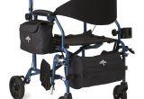 Medline Combo Rollator Transport Chair Medline Combination Rollator Transport Wheelchair Blue Walmart Com