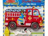 Melissa and Doug Floor Puzzles Fire Truck Amazon Com Melissa Doug Fire Truck Wooden Chunky Puzzle 18 Pcs