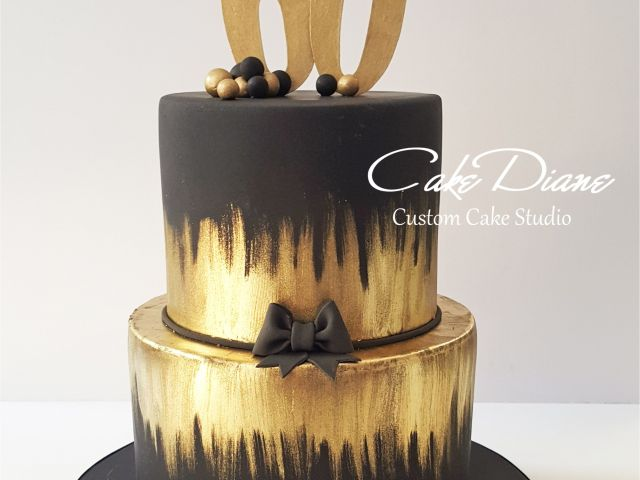 Mens 65th Birthday Decorations Black And Gold Cake For A Man S 60th