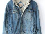 Mens Light Wash Denim Jacket Vintage 80s Mens Denim Hoodie Jacket Sporty Spring Cotton Jacket