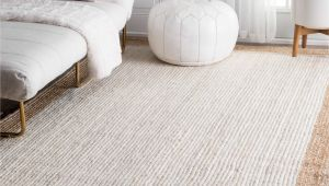 Natural Fiber area Rug 8×10 Nuloom Alexa Eco Natural Fiber Braided Reversible Border Jute White