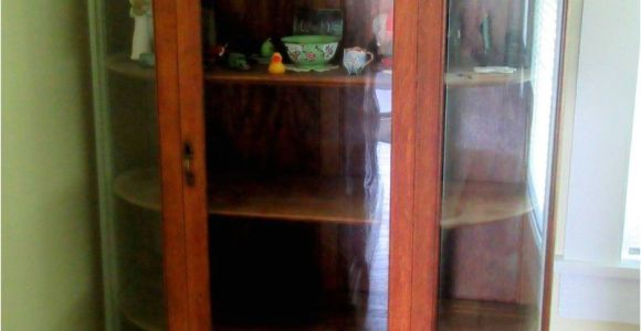 Oak Curio Cabinets for Sale Antique Oak Curio Cabinet Flat Glass Door Half Round Sides