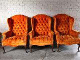 Orange Velvet Accent Chair 3 Vintage orange Velvet Tufted Wingback Chairs