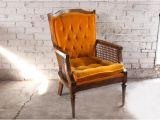 Orange Velvet Accent Chair Vintage orange Velvet Tufted Cane Accent Chair