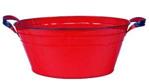 Outdoor Oval Bathtub Red Enamel Vintage Style Oval Beverage Tub