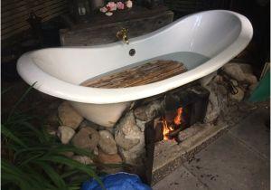 Outside Bathtub Heater Outdoor Bath Heated with Fire Underneath Jan Lights the