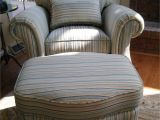 Overstuffed Chair and Ottoman Covers Club Chair Reupholstered In A Stripe Fabric with Matching Ottoman