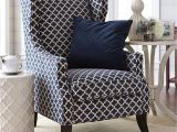 Overstuffed Chair Slipcover Navy Blue Trellis Wing Chair Pinterest Central Heating Wingback