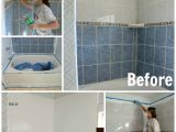 Painting Bathtub and Tile How to Refinish Outdated Tile Yes I Painted My Shower