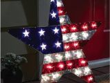 Patriotic Christmas Decorations Yard Metallic Stars Stripes Lighted Patriiotic Usa Flag Star Shaped