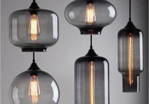 Pendant Lights that Screw Into socket Modern Industrial Smoky Grey Glass Shade Loft Cafe Pendant Light