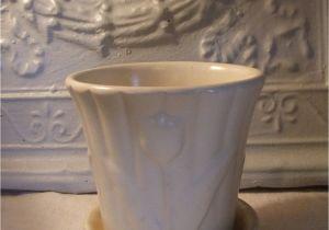 Porcelain Flower Pots Mccoy White Flower Pot and Saucer I Want You Pottery