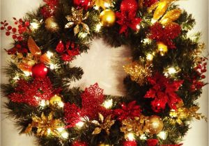 pre decorated artificial christmas wreaths handcrafted wreath plain pre lit wreath from lowes and left over - How To Decorate Artificial Christmas Wreath