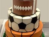 Razorback Cake Decorations Sports Balls Cake with Baseball Football soccer Ball Basketball