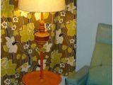 Retro Yellow Floor Lamp Vintage Tray Table Floor Lamp Funky Mod orange & Yellow W