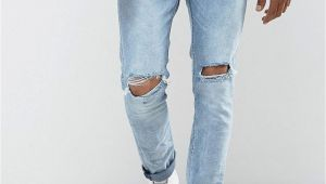 Ripped Jeans for Men Light Blue Bershka Skinny Jeans with Knee Rips In Light Blue Wash Products