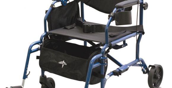 Rollator Transport Chair Combo Medline Translator Combination Transport Chair and Rollator Blue