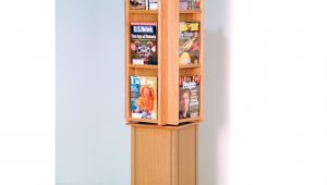 Rotating Wooden Magazine Rack 24 Pocket Magazine Brochure Wall Rack Hayneedle