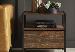 Rustic Side Tables Living Room Shop Corey 1 Drawer Rustic Brown End Table by Inspire Q Modern