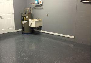 Sherwin Williams Metallic Epoxy Floor Gray Painted Walls with Charcoal Epoxy Speckled Floor Garage