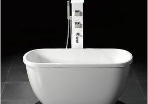 "Small Clawfoot Bathtubs A55"" Small Acrylic Modern Free Standing Bathtub & Faucet"