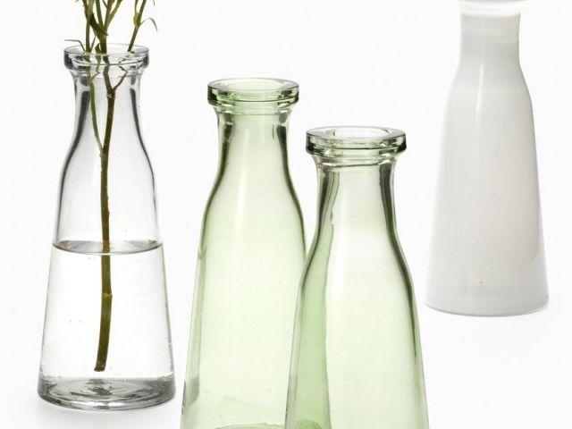 Small Glass Bottle Decoration Ideas Clear Green White Milk Bottle