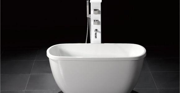 "Small Wood Bathtubs Troy 55"" Small Modern Free Standing Bathtub & Faucet"