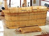 "Soaking Bathtub Wooden Alfi Brand 2 Person Cedar Wooden 65"" X 30 75"" Freestanding"