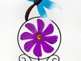 Spinning Garden Art Metal Garden Stake Dragonfly Spinning Purple Flower Yard Art Outdoor