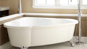 """Stand Alone Corner Bathtub 70"""" Talia Corner Acrylic Tub Ball Feet Bathroom"""