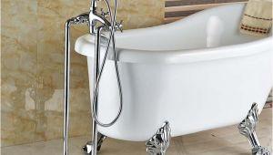 Standalone Bathtub Faucet Chrome Free Standing Bathroom Tub Faucet Mixer Dual