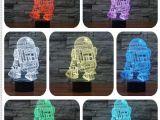 Star Wars Lights Hot Sale 3d Star Wars Warship Robot Kawaii R2 D2 Lamp 7 Colors