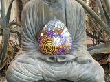 Stone Art for Gardens Painted Stone Meditation Space Decor Mandala Design Dragonfly