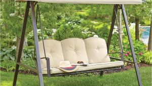 Swing Chairs for Outdoors Hampton Bay Cunningham 3 Person Metal Outdoor Swing with Canopy