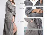 Tall Womens Floor Length Robes Hooded Herringbone Women S Grey Color soft Spa Bathrobe with Cream