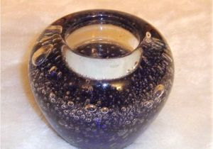 Tea Light Urns Dark Cobalt Blue Clear Glass Controlled Bubbles Tea Light Candle