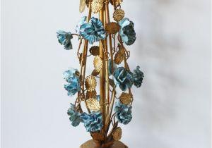 Tea Light Urns Italian tole Aqua Porcelain Carnations Urn Gilt Lamp Altered Art