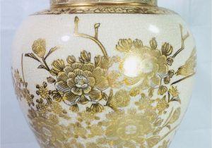 Tea Light Urns oriental Urn Vase Hand Painted asian oriental Decor Gilded Urn