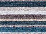 Teal Blue Furry Rug the Rugs Usa Keno Striped Shaggy Rug Offers Cushiony Comfort and