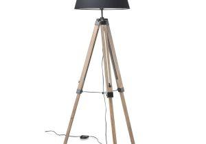 TriPod Spotlight Lamp TriPod Floor Lamp 144cm Black Shade Weathered Legs Black Mango