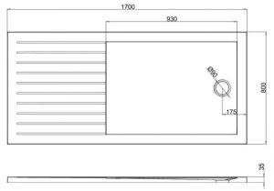 Uk Bathrooms Returns Summit 1700 X 800mm Walk In Shower with Return Panel