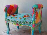 Velvet Purple Vanity Chair Rainbow Bench Bohemian Vanity Chair Embroidered Flower Power Vanity