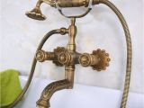 Vintage Bathtub Hardware Carved Vintage Antique Brass Double Handles Wall Mounted