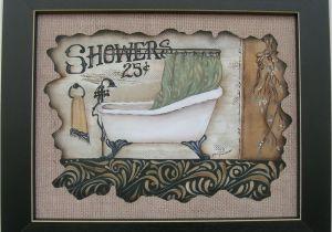 Vintage Bathtub Wall Art Antique Bath Tub Showers 25 Cents Framed Country