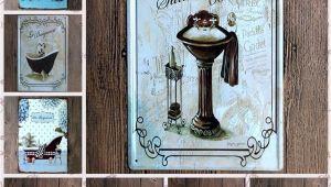 Vintage Bathtub Wall Art Bathroom Chateau Wall Decor Metal Tin Sign Retro Plaque