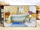 """Vintage Bathtub Wall Art Metal Tin Signs Bathroom Poster """"bathtub"""" Retro Painting"""
