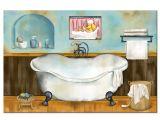 Vintage Bathtub Wall Art Rustic Bathroom Decor Canvas Wall Art Blue Bathroom