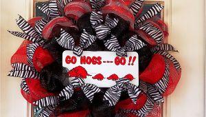 Vintage Razorback Decor Arkansas Razorback Wreath Made with Deco Mesh Zebra Ribbon Go Hogs