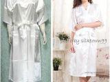 Women's White Bathrobes Uni Men S Sleepwear Women S Kimono Satin Silk Robe